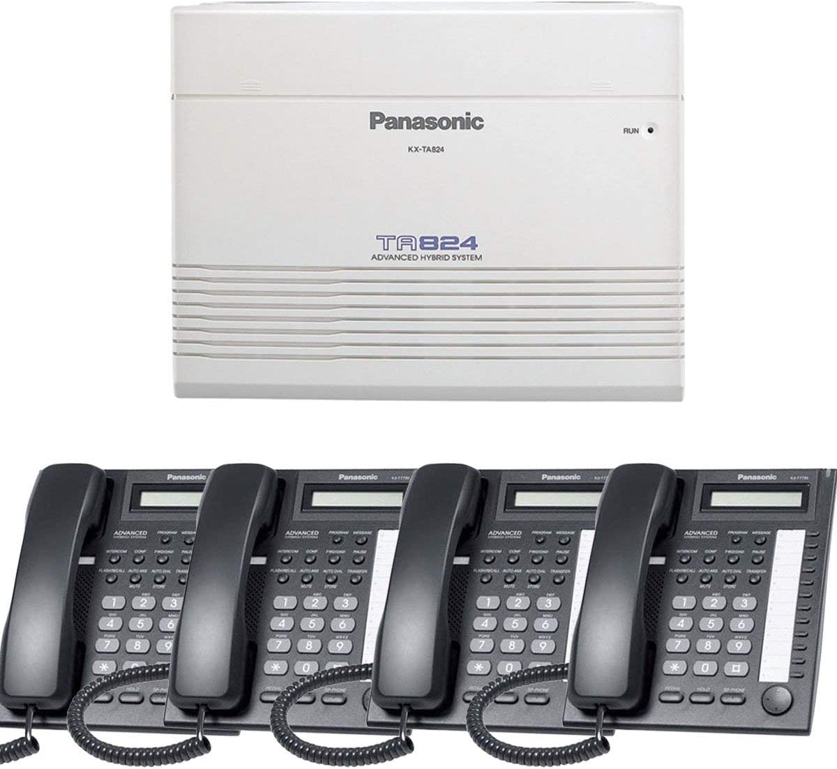 Panasonic Small Office Business Phone System Bundle Brand New includiing KX-T7730 4 Phones Black and KX-TA824 PBX Advanced Phone System With 1 Year Warranty Sold by Phone Source Direct USA