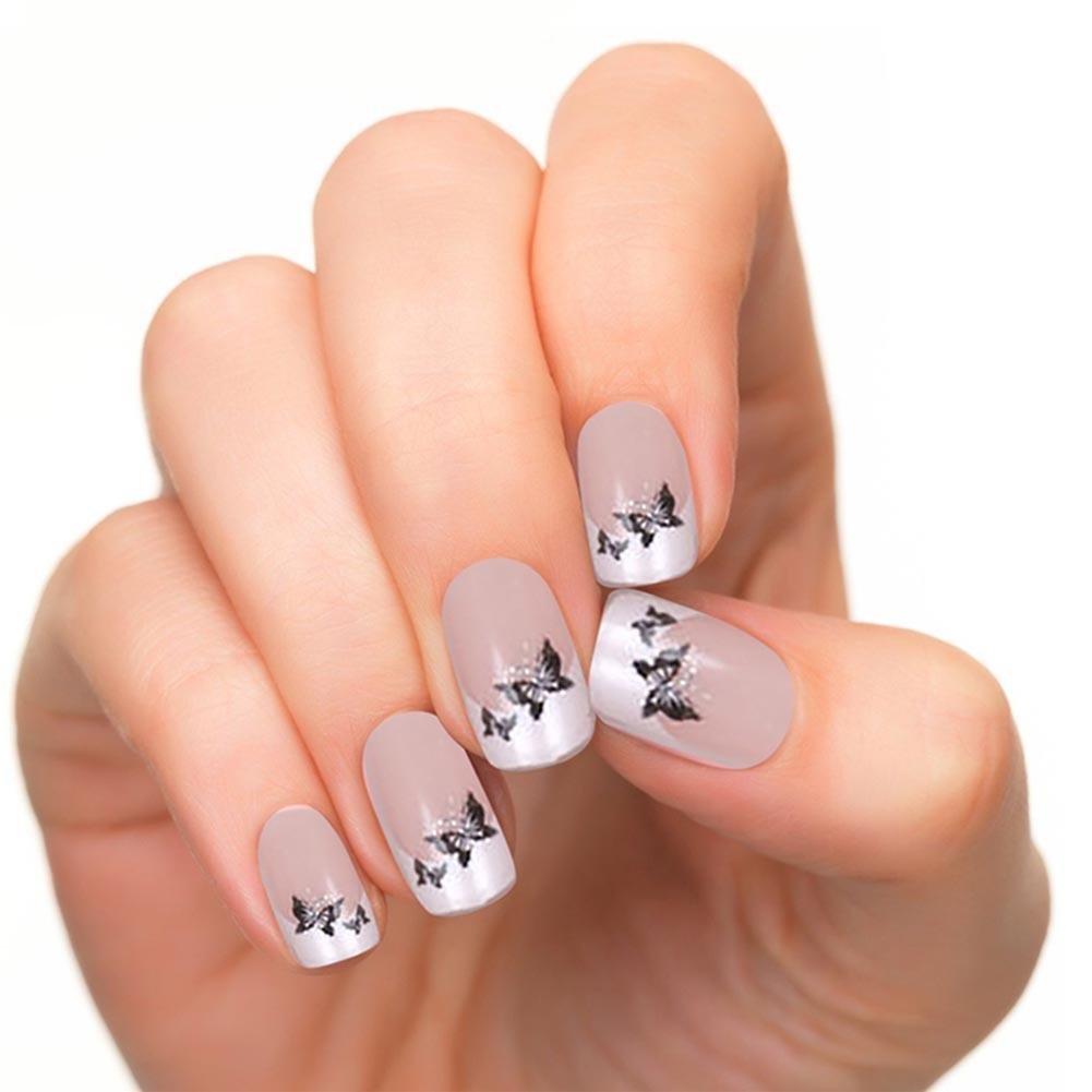 Gowind6 - Set de 24 uñas postizas con diseño de mariposas para decoración de uñas: Amazon.es: Belleza