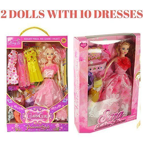 i Toyz, Fashions Doll 2 Pack With 10 Outfits 14.5 Inch fashionistas Dolls
