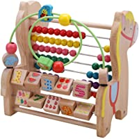 FunBlast Multi-Function Wooden Colorful Trojan Horse Round Bead Calculation Educational Learning Toy for Kids, Educational Toy Set for Kids