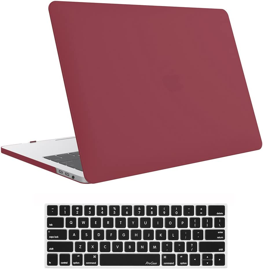 ProCase MacBook Pro 13 Case 2019 2018 2017 2016 Release A2159 A1989 A1706 A1708, Hard Case Shell Cover and Keyboard Skin Cover for MacBook Pro 13 Inch with/Without Touch Bar –Red
