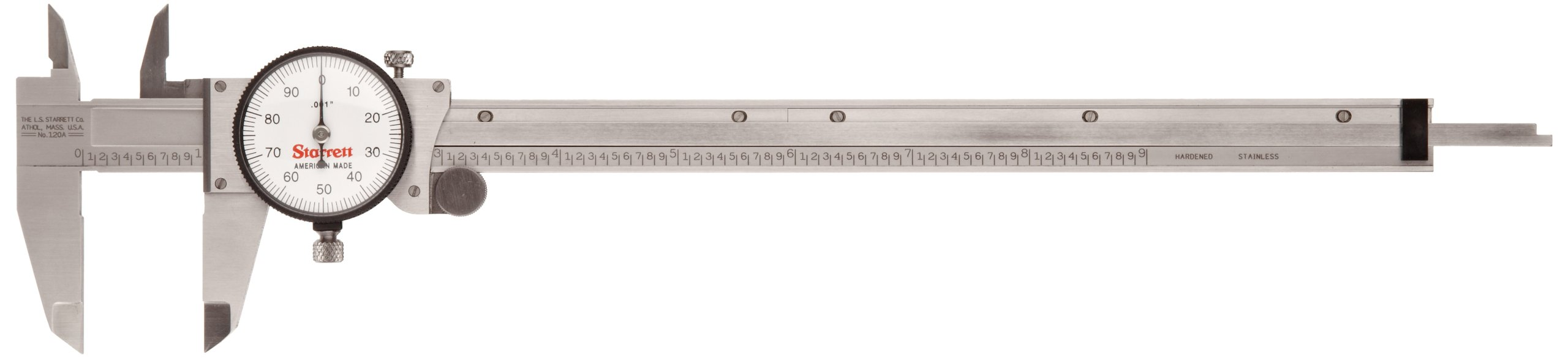 Starrett 120A-9 Dial Caliper, Stainless Steel, White Face, 0-9'' Range, +/-0.001'' Accuracy, 0.001'' Resolution