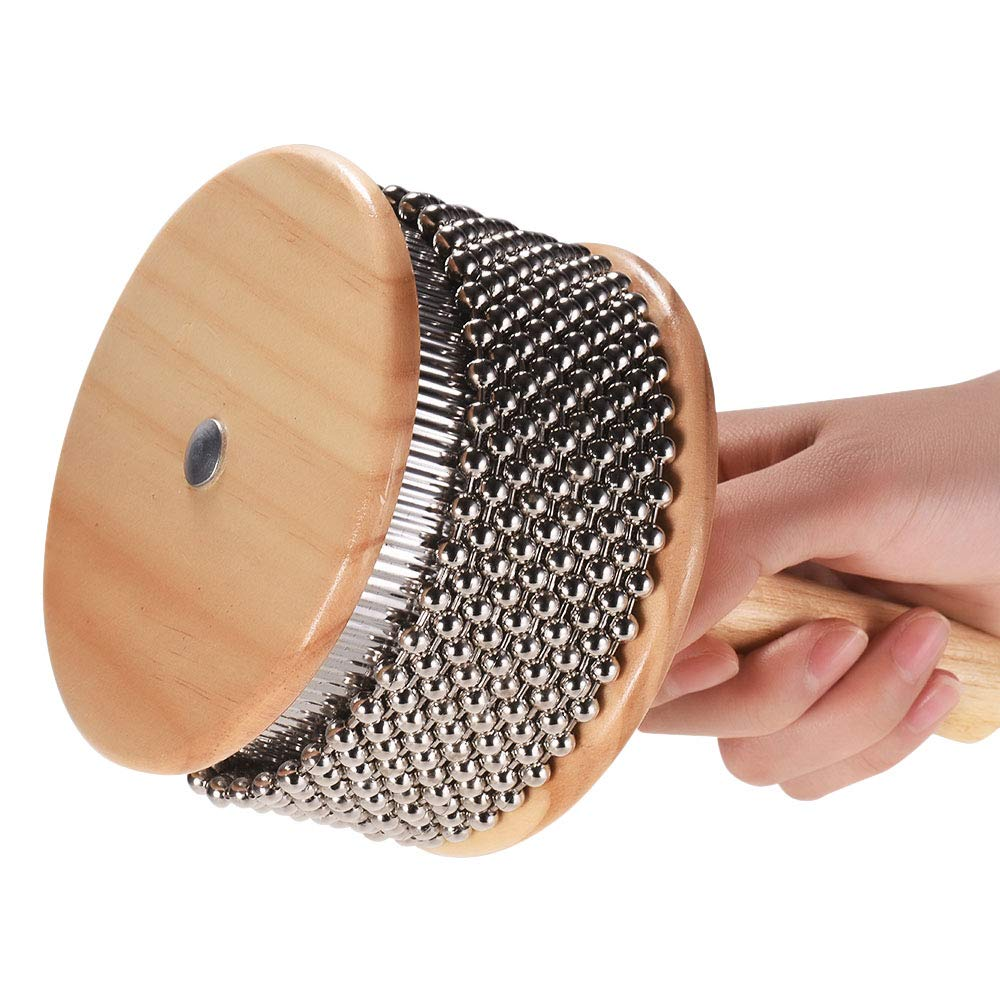 Muslady Wooden Cabasa Percussion Musical Instrument Metal Beaded Chain /& Cylinder Pop Hand Shaker for Classroom Band Medium Size