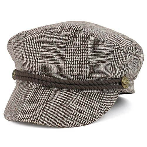 Trendy Apparel Shop Greek Sailor Fisherman Checkered Baker Boy Hat with Rope Band - TAN
