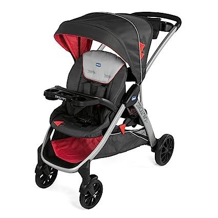 Chicco Strolln2 Silla de paseo para dos niños con asiento y patinete trasero, color negro y rojo