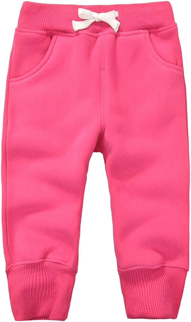 DELEY Unisex Bambini Pantaloni Cotone Elastico in Vita Ragazzi Ragazze Inverno Caldo Pantaloni Jogging Pants 1-5 Anni