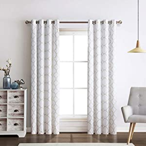 Regal Home Collections 2 Pack Meridian Energy Efficient/Room Darkening/Noise Reducing/Thermal Lattice Chic Foamback Grommet Curtains - Assorted Colors (Taupe)