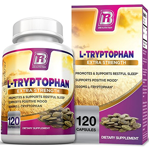 BRI Nutrition L-Tryptophan - Natural Sleep Aid Tryptophan Supplement to Encourage Relaxation, Combat Stress & Encourage Restful Sleep - 1500mg Servings, 120 Count