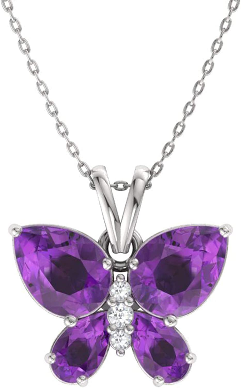 Genuine Pink Topaz Gemstone Rhodium Plated Sterling Silver Butterfly Pendant Necklace