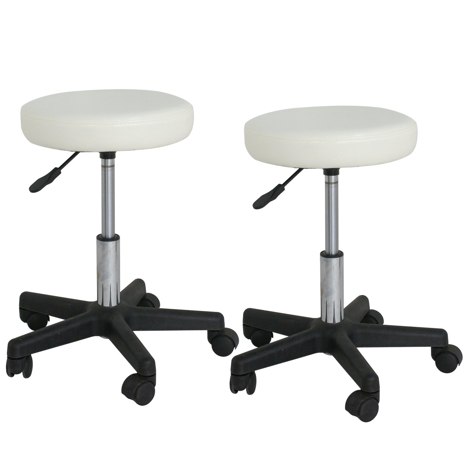 F2C Leather Adjustable Bar Stools Swivel Chairs Facial Massage Spa Salon Stool with Wheels White/Black (2PCS White) by F2C (Image #2)