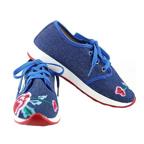 Zapatos Bordados con Flores de Estilo Chino Zapatillas Respirables de absorción de Impactos con Cordones (