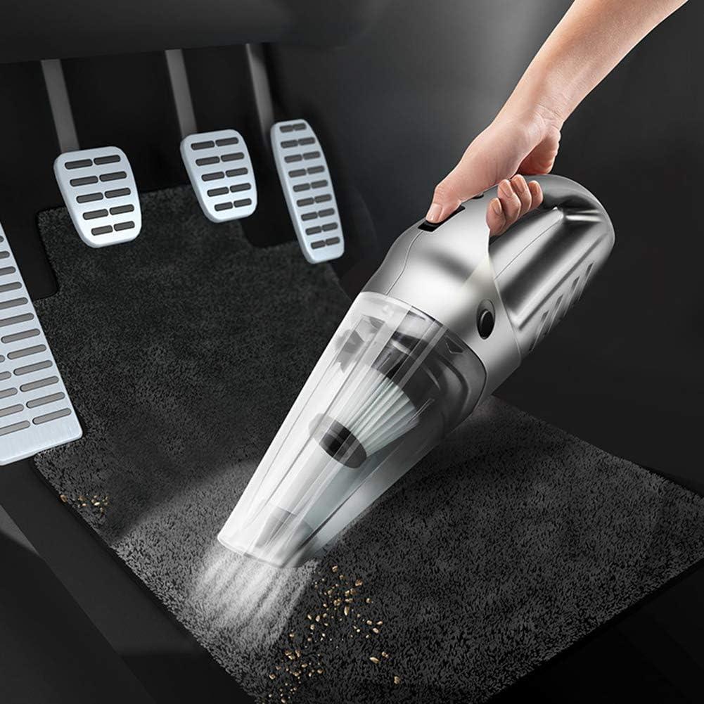 LAHappy Aspirateur à Main sans Fil Aspirateur de Voiture 120W Puissant Portable avec Filtre HEPA pour Maison, Voiture, Table, Bureau,Jaune Silver