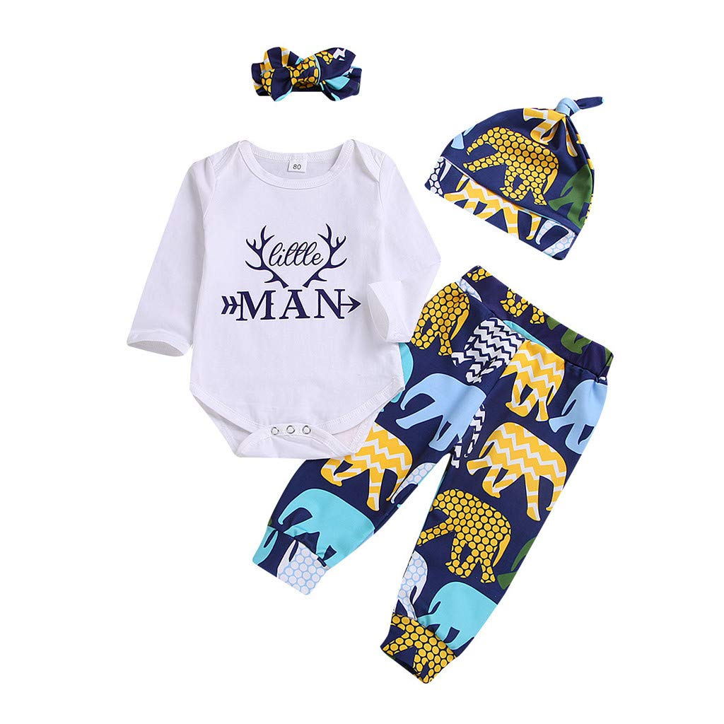 Zlolia Infant Baby Boys Girls Letter Printed Ruffle & Animal Print Pants & Hair Bands & Caps Christmas Clothing White by Zlolia-Christmas