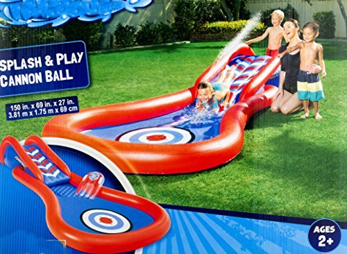 Slip-N-Slide Inflatable This Cannon Ball Kiddie Blow Up Above Ground Long Water Slide is Great for Toddlers, Children, Kids. Plus Boogie, Aqua Splash to Have Outdoor Water Fun W/All Family. by Slip-N-Slide (Image #1)