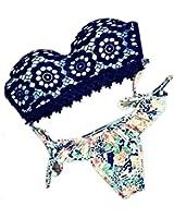 DELEY Donne Stampa Floreale In Pizzo Imbottito Costumi Da Bagno Bikini