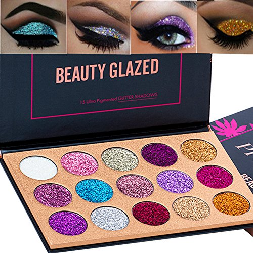 Beauty Glazed 15 Colors Glitter Eyeshadow Palette Shimmer Ultra Pigmented Makeup Eye Shadow Powder Long Lasting Waterproof (Best Mac Eyeshadows For Blue Eyes)