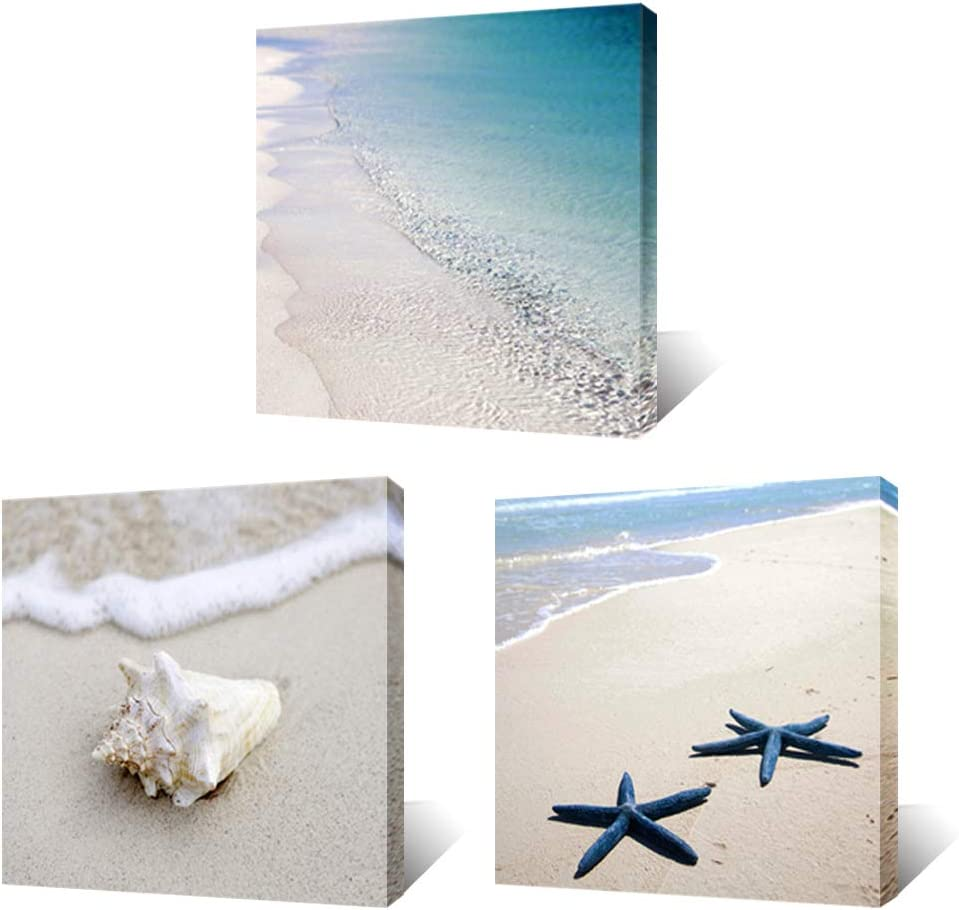 "Artsbay 3 Piece Canvas Wall Art Beach Picture Tropical Blue Sea Starfish Sand Seascape Painting Modern Artwork Framed for Home Bedroom Bathroom Decoration 12"" x 12"" x 3 Piece"