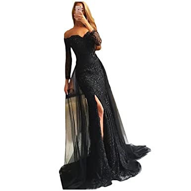 24c3078f30 Chady Sexy Off Shoulder Long Sleeves Black Lace Memraid Prom Dresses 2019  Side High Split Sequins
