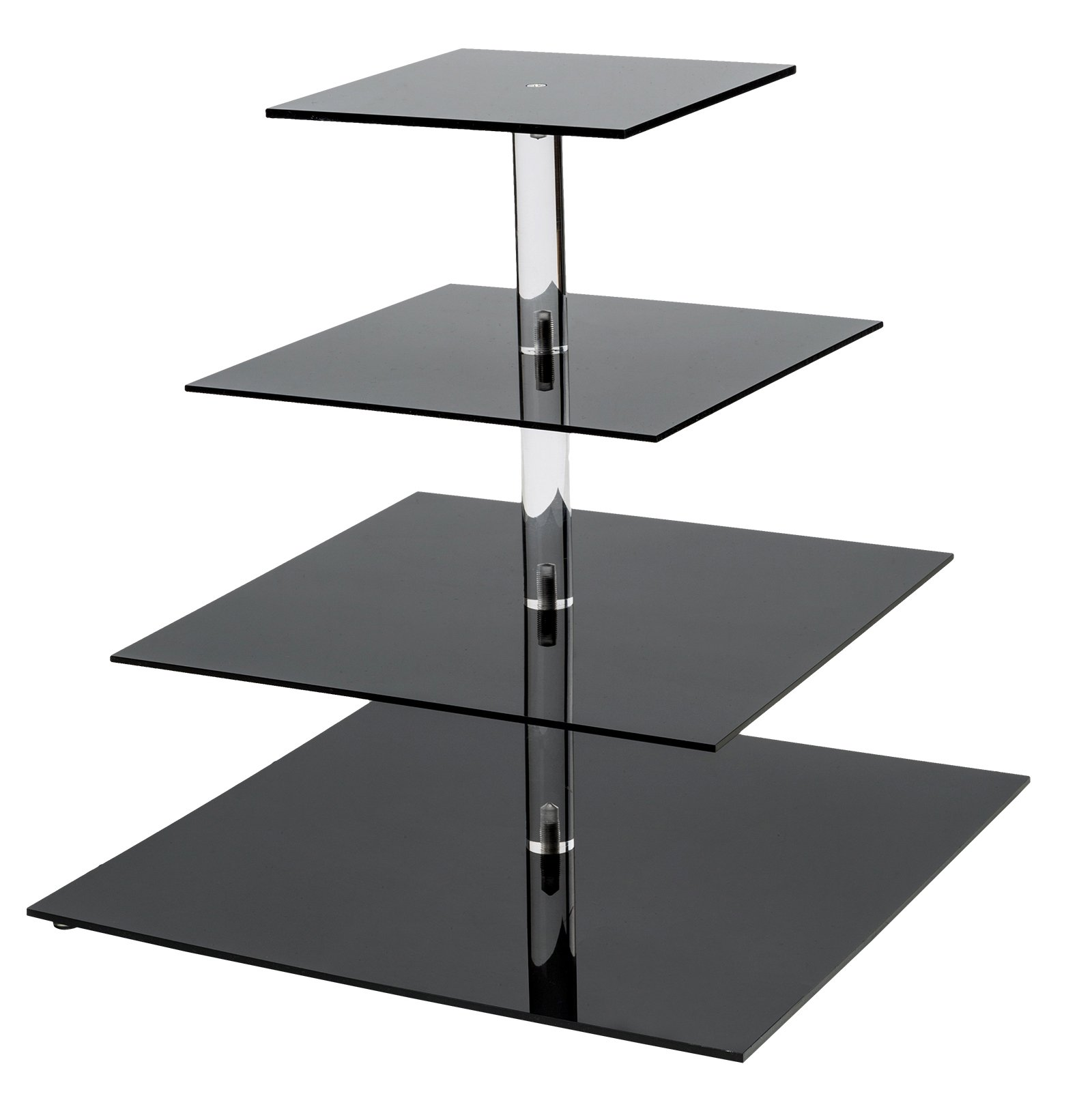 SinoAcrylic 4 Tier Square Cupcake Stand With Fantastic Plate - Dessert Display Holders - Black Stacked Party Cupcake Tree - Tiered Cake Stand - Cupcake Tower for Parties Birthday