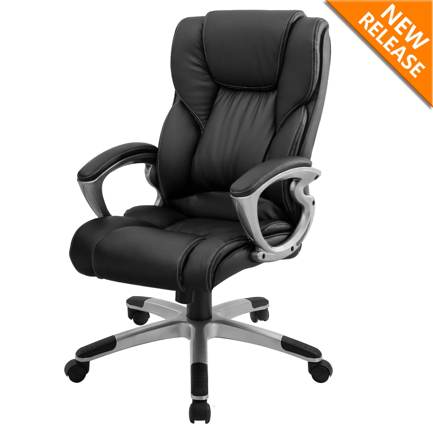 B2C2B Leather Executive Office Chair Computer Desk Chair Ergonomic Adjustable Racing Chair Task Swivel Chair Armrest and Lumbar Support Black