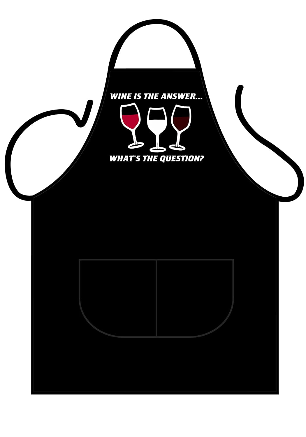 Wine Is The Answer. What Was The Question? BBQ Apron – One Size Fits All. 100% Cotton, Tested for Harmful Substances to German 'Öko-Tex 100 empireposter