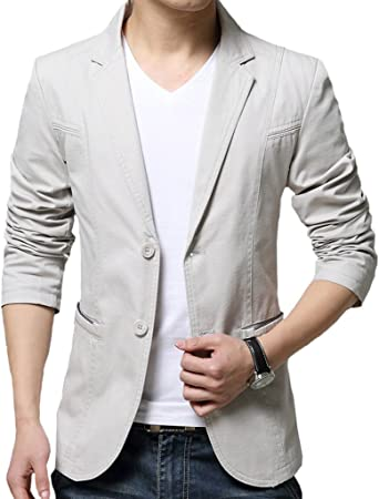 OUYE Mens Single Breasted 2 Button Casual Blazer