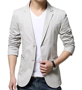 OUYE Men's 2 Button Cotton Casual