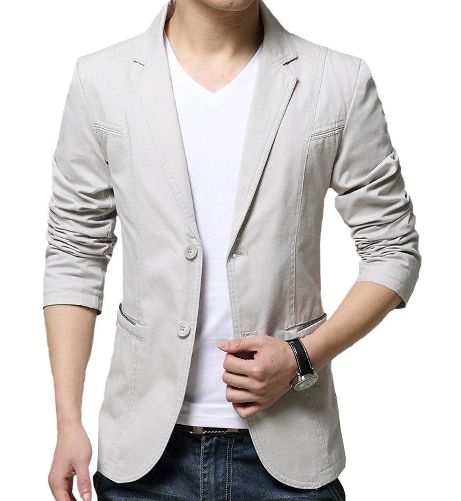 OUYE Men's 2 Button Cotton Casual Blazer 3X-Large Beige