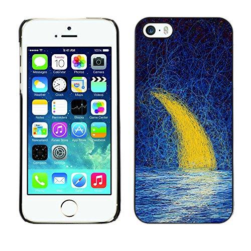 TaiTech / Case Cover Housse Coque étui - Moon Crescent Painting Oil Sea Night Sky - Apple iPhone 5 / 5S