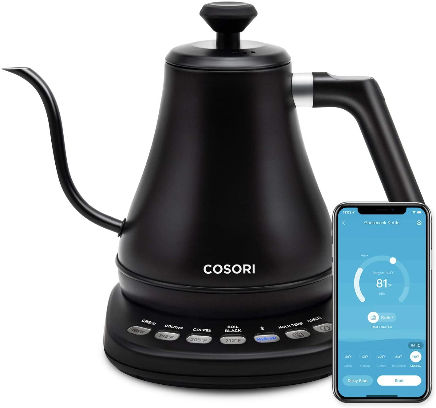 COSORI Electric Gooseneck Smart Bluetooth with Variable Temperature Control Pour Over Coffee Kettle & Tea Kettle, 100% Stainless Steel Inner Lid & Bottom, Quick Heating, 0.8L, Black: Kitchen & Dining