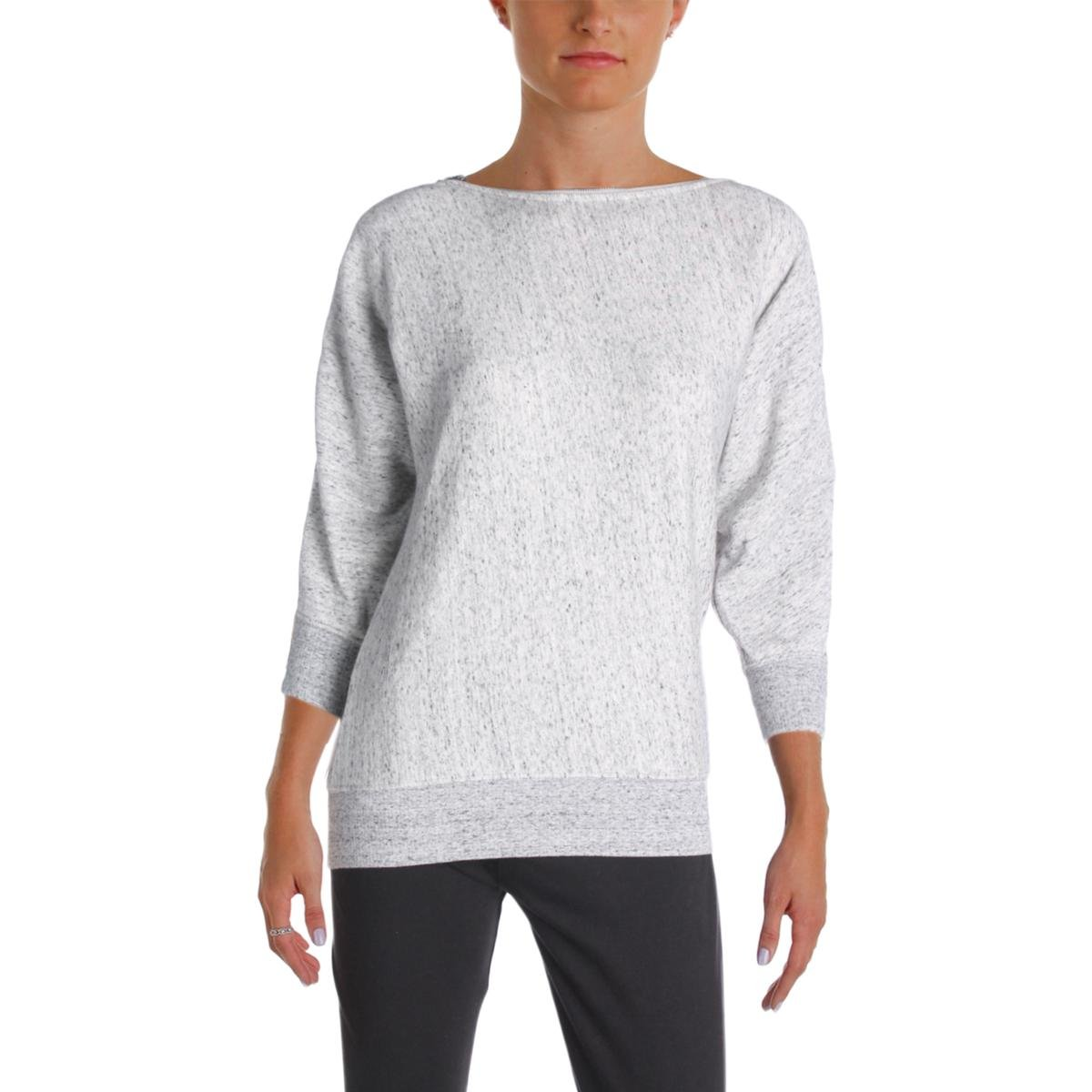 Grey State Womens Marled Zippered Sweatshirt Gray XL