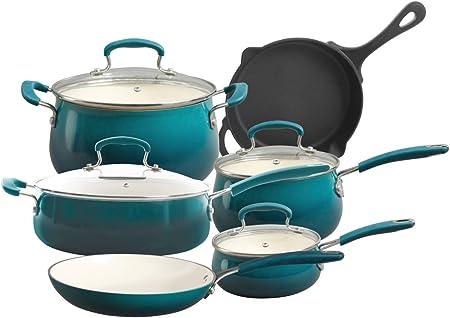 The Pioneer Woman Vintage Speckle 10-Piece Non-Stick Pre-Seasoned Cookware Set Turquiose