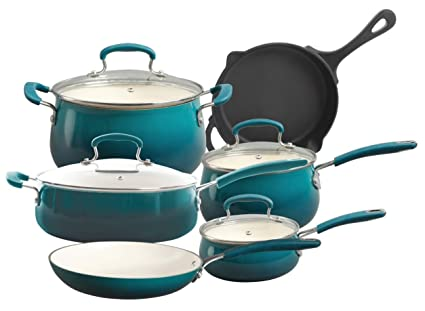 the pioneer woman vintage speckle 10 piece non stick pre seasoned cookware set - Pioneer Woman Kitchen