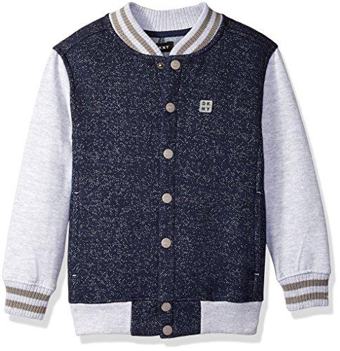 DKNY Boys' Little Snap Front Color Block Grindle Fleece Varsity Style Jacket, Peacoat, -