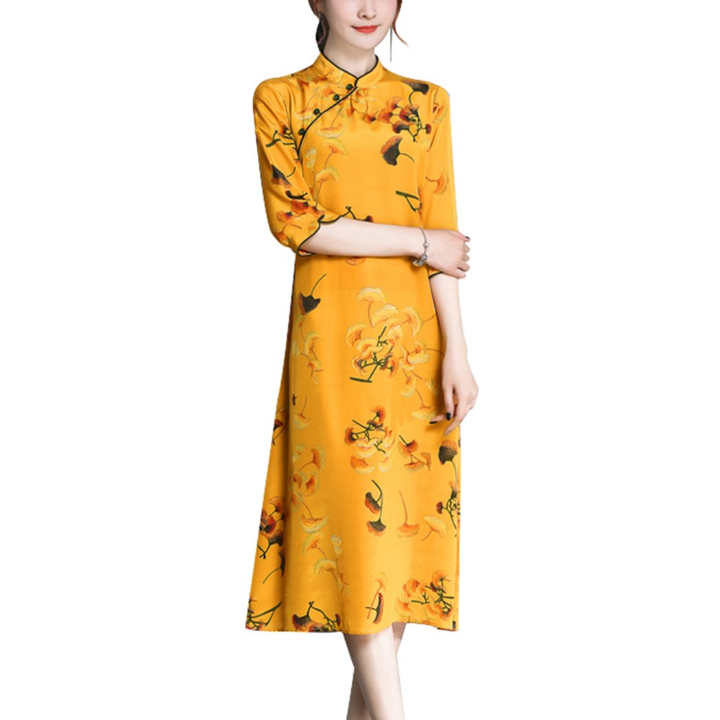 HÖTER 2018 Womens Vintage Style Yellow A-Line Slim Printed Banquet Party Cheongsam Qipao Dress