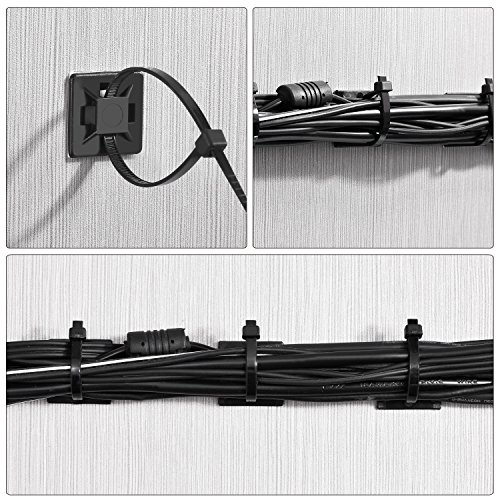 100 Pack Zip Tie Adhesive Mounts Self Adhesive Cable Tie Base Holders with Multi-Purpose Cable Tie (Length 150 mm, Width 2 cm, Black)