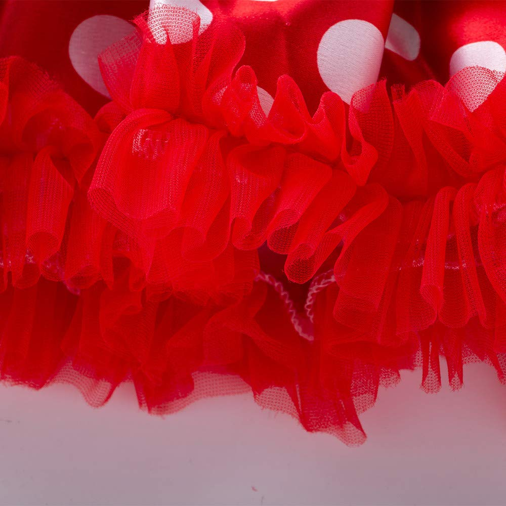 Baby Girls Party Christmas Dress,My First Christmas Socks Romper Top Dot Tutu Dress Bow Headband Set