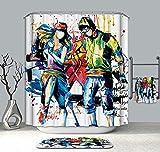 Yokii Shower Curtain,Hot blood street dance music Bathroom Decor Shower Curtain,Waterproof Mildew Resistant Fabric With free Hooks