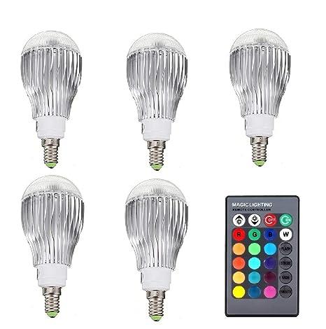 MXNET 5PCS RGB LED Lampara 10W 85-265V E14 LED RGB Bombilla Led Soptlight Control