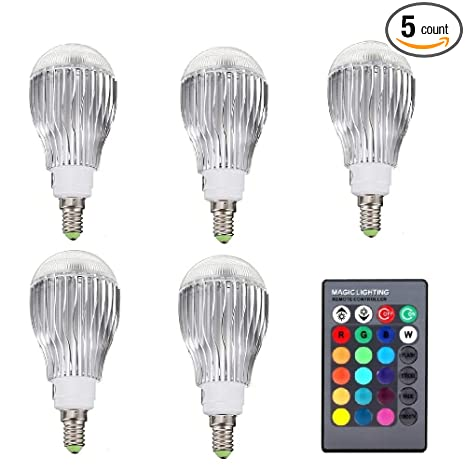 DingXW 5PCS RGB LED Lamp 10W 85-265V E14 LED RGB Bulb Light Led Soptlight