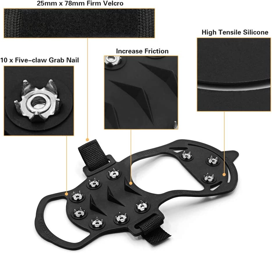 Size : L TOP FREEDOM Outdoor Anti Slip Ice Snow Grips Crampons Women Men Ice Spikers Grippers Walk Traction Cleats Spikers Ice Traction Slip on Boots Shoes