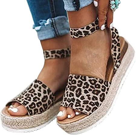 Yesmile Sandalias Mujer para Vestir, Sandal Estilo de Estampado de Leopardo Elegante Sandalias de Punta Descubierta para Mujer