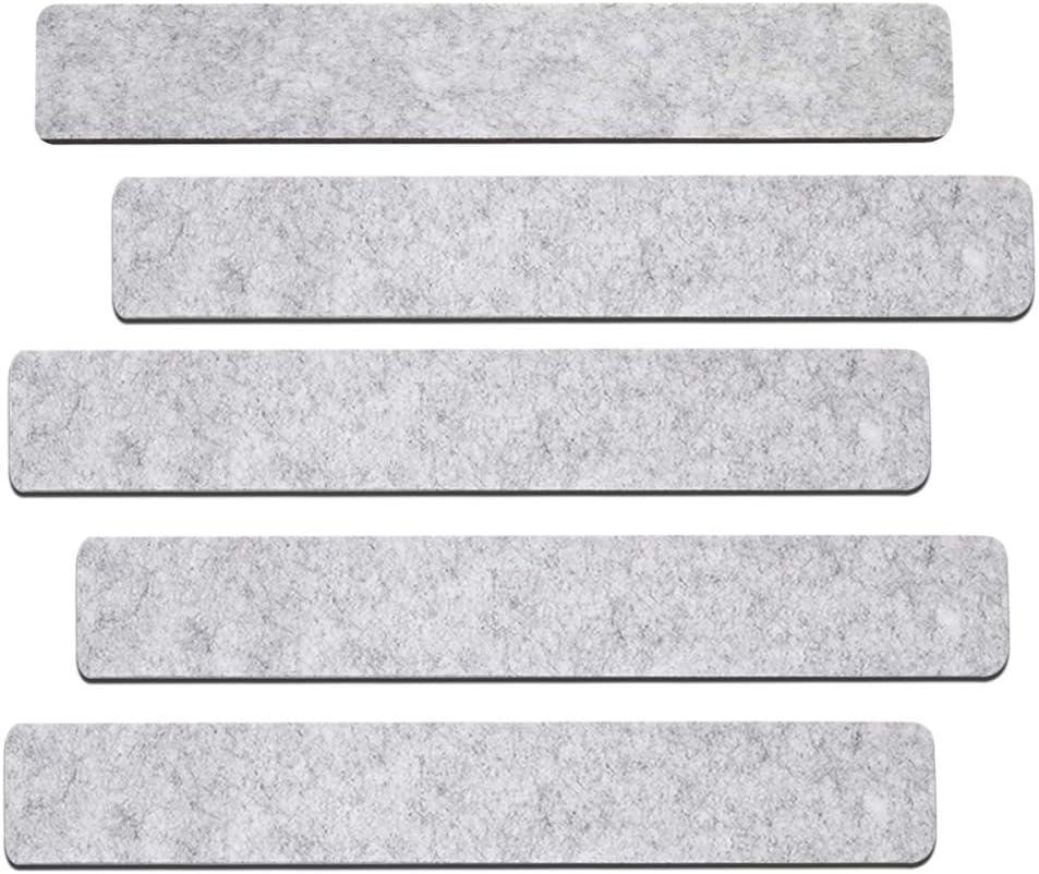 Felt Bulletin Board Cork Board Bar Strip Self-Adhesive Pin Board Bar with Push Pin for Home Office Classroom Display Message Frame-Less Cork Board Tilesfor Wall Decor (Light Gray)