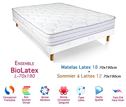 BioRelax Colchón de látex Conjunto de somier 18/12, 70 x 190 cm