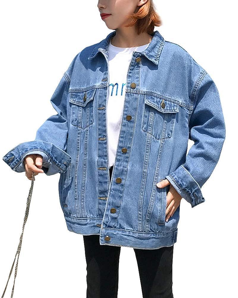 Mujer Suelta Chaqueta Vaquera de Manga Larga Cazadora Vaquera con Capucha Jacket