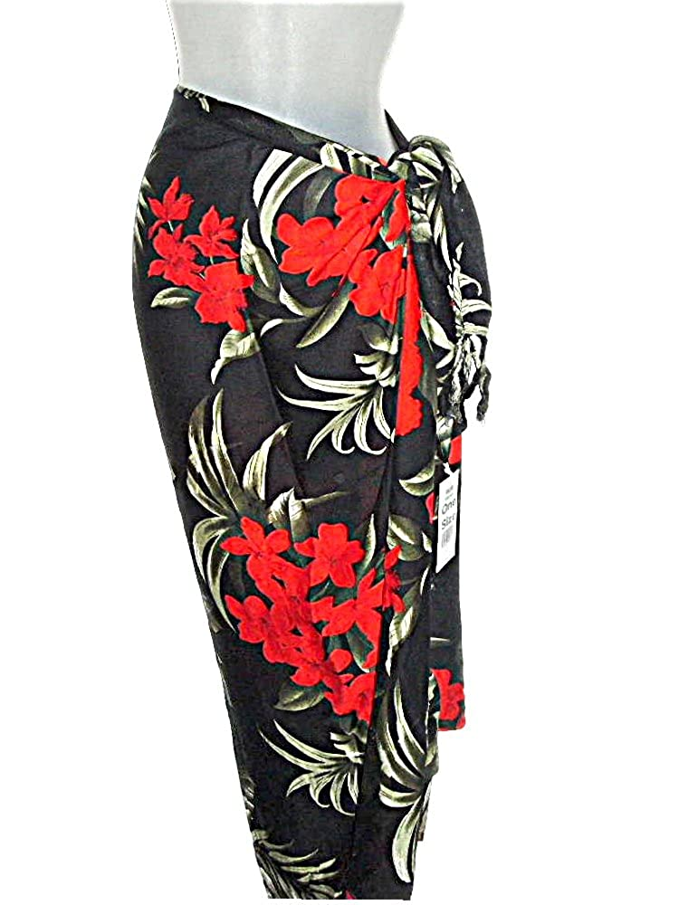 d923fffbb3 Hawaiian Tropical Sarong Beach Cover Up Red Hibiscus and Plumeria Flowers  at Amazon Women's Clothing store: