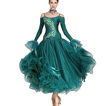 8a17babef109 Wangmei Ballsaal Tanz-Outfit Damen Wettbewerb Kleider Walzer Modernes  Kostüm Tüll Kristalle Strasssteine