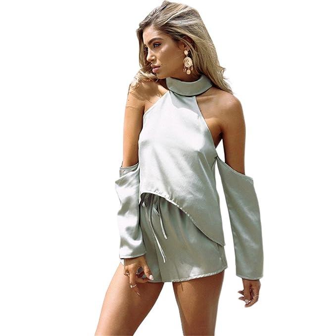 Haroty Vestidos Rectos Pantalones Color Sólido Manga Larga Sin Espalda Casual Ancho para Mujeres Verano: Amazon.es: Ropa y accesorios