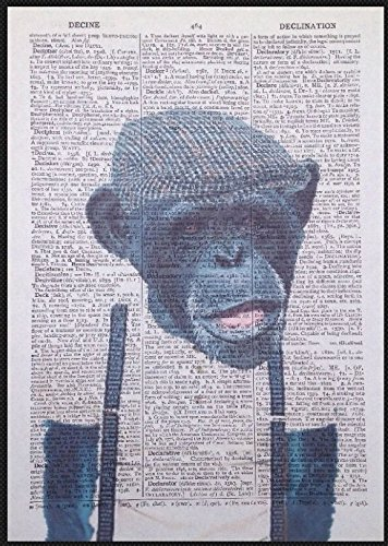 Scimmia Chimp stampa vintage Dictionary page Wall Art immagine Chimpanzee hipster Tux Animal umanizzato homemade