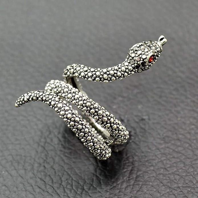 Vintage Sterling Silver Black Crystal Rhinestone Snake Ring Size 5 12